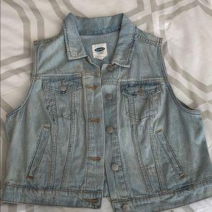 Light-wash distressed jean vest